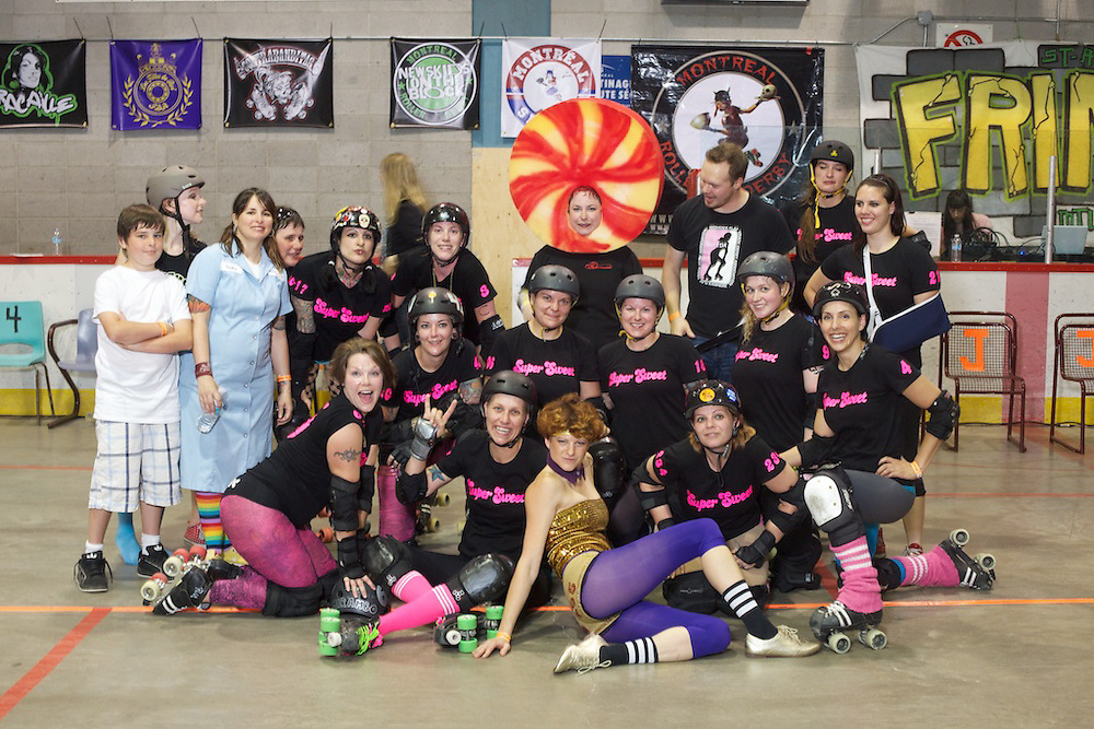 Les Filles du Roi take on an all star Ontario team - Team Super Sweet. Team Super Sweet is a special team made up of players from Tri-City, Forest City, Toronto and Hammer City...This is the first full length bout featuring MTLRD's FDR and it was also part of the St. Ambroise Fringe Festival Montreal. A half-time show with Dance Animal was featured to commemorate the event.