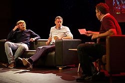 LIVERPOOL, ENGLAND - Friday, September 9, 2016: Former Liverpool player Jamie Carragher and author Simon Hughes on stage during the launch of Ring of Fire - Liverpool FC into the 21st century the players' story at Mountford Hall. (Pic by David Rawcliffe/Propaganda)