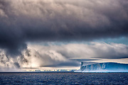 Icebergs, glaciers and fog in the Antarctic Sound close to Brown Bluff, Antarctic Peninsula