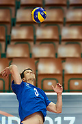 Katowice, Poland - 2017 September 02: Athlete Saku Suikkanen from SO Finland spikes the ball while SO Azerbaijan versus SO Finland match during European Unified Volleyball Tournament 2017 at Spodek Hall on September 02, 2017 in Katowice, Poland.<br /> <br /> Adam Nurkiewicz declares that he has no rights to the image of people at the photographs of his authorship.<br /> <br /> Picture also available in RAW (NEF) or TIFF format on special request.<br /> <br /> Any editorial, commercial or promotional use requires written permission from the author of image.<br /> <br /> Image can be used in the press when the method of use and the signature does not hurt people on the picture.<br /> <br /> Mandatory credit:<br /> Photo by &copy; Adam Nurkiewicz / Mediasport