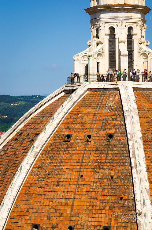 Tourists on The Duomo dome from Giotto's Bell Tower (Campanile di Giotto), Florence, Tuscany, Italy