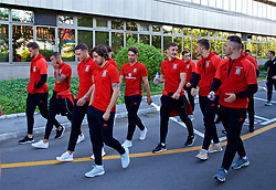 BELGRADE, SERBIA - Sunday, June 11, 2017: Wales' James Chester, Joe Allen and the squad during a team walk around the Hyatt Regency Hotel before the 2018 FIFA World Cup Qualifying Group D match between Wales and Serbia. (Pic by David Rawcliffe/Propaganda)