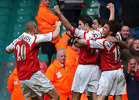 Photo. Daniel Hambury, Digitalsport<br /> Arsenal v Blackburn Rovers. <br /> FA Cup Semi Final.<br /> 16/04/2005.<br /> Arsenal's players rush to celebrate with goal scorer Robin van Persie after he scored the first of his two goals.