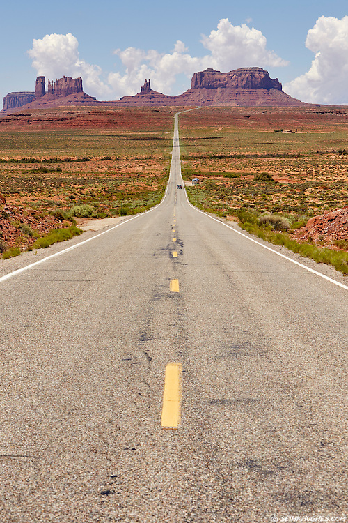 US Highway 163 leads south to the iconic sandstone buttes of Monument Valley, Arizona.