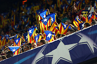 Fans of FC Barcelona wave pro-independence Catalan flags during the UEFA Champions League Group E football match between FC Barcelona and Bate Borisov on November 4, 2015 at Camp Nou stadium in Barcelona, Spain. <br /> Photo Manuel Blondeau/AOP.Press/DPPI