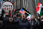 Thousands march down Jackson Boulevard towards Federal Plaza in support of immigrant rights in Chicago on February 16, 2017. This march was part of the 'A Day Without Immigrants' movement in which organizers across the United States asked immigrants to stay home from work and school and not spend any money to show how much they impact the economy.