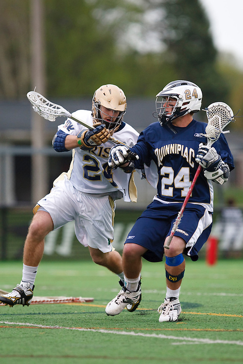 May 1, 2009:    #24Eric Keppeler of Notre Dame and #24 DeAlmeida, Alex of Quinnipiac in action during the NCAA Lacrosse game between Notre Dame and Quinnipiac at GWLL Tournament in Birmingham, Michigan. (Credit Image: Rick Osentoski/Cal Sport Media)