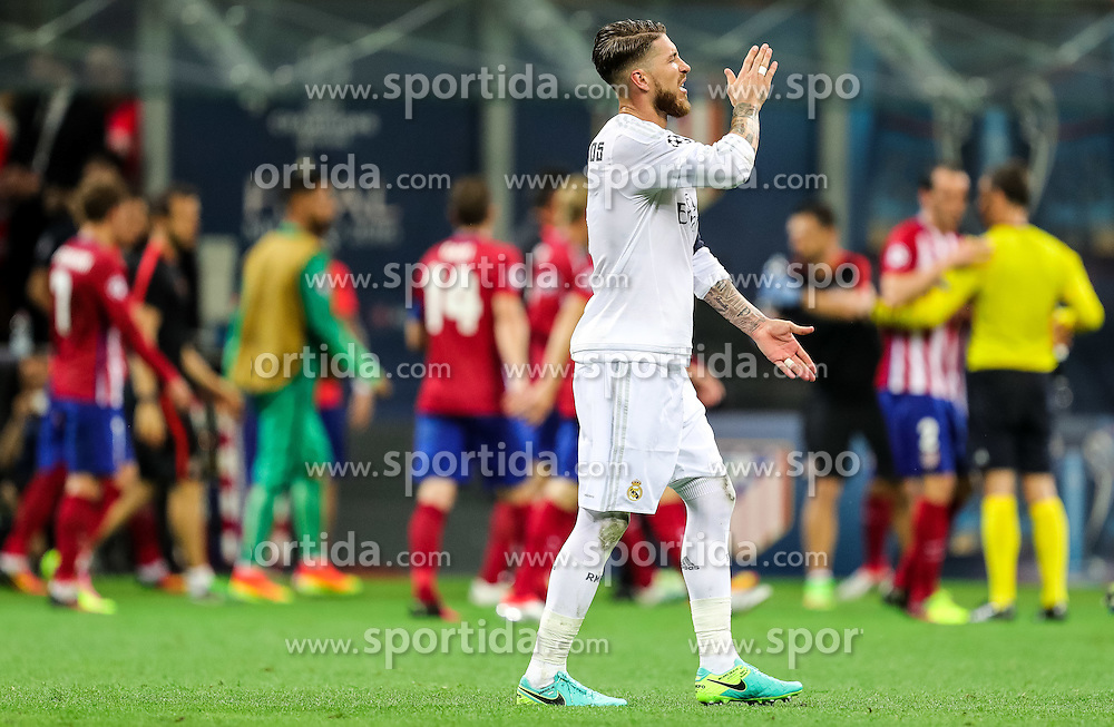 Sergio Ramos of Real Madrid when Atletico scored first goal during football match between Real Madrid (ESP) and Atlético de Madrid (ESP) in Final of UEFA Champions League 2016, on May 28, 2016 in San Siro Stadium, Milan, Italy. Photo by Vid Ponikvar / Sportida
