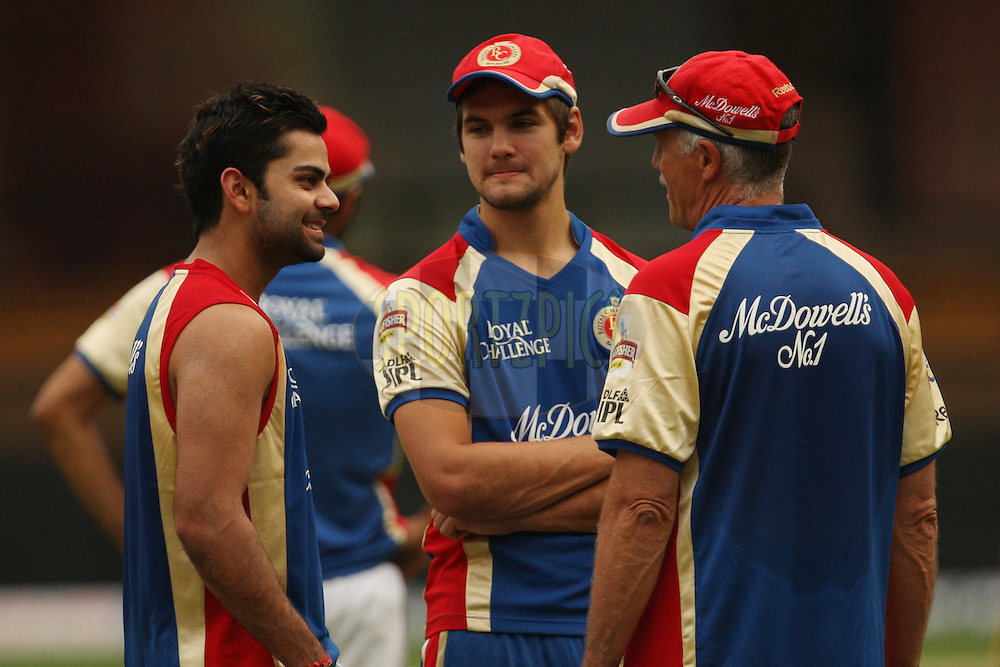 Virat Kohli, Rilee Rossouw and Ray Jennings during Royal Challengers Bangalore practice session and press conference held at the M. Chinnaswamy Stadium, Bengaluru on the 9th April 2012..Photo by Jacques Rossouw/IPL/SPORTZPICS