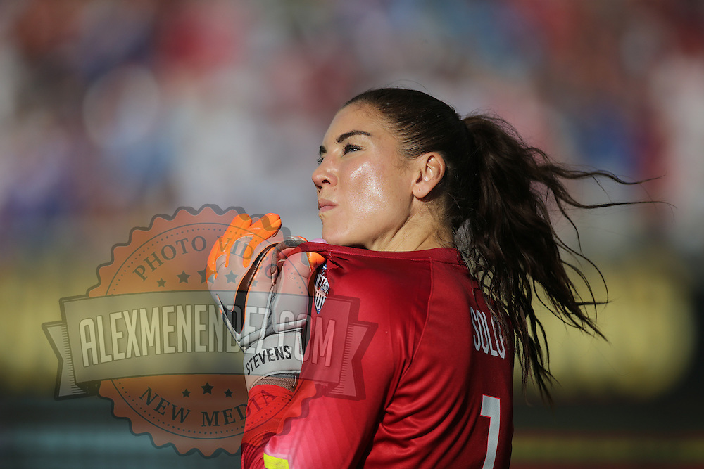 ORLANDO, FL - OCTOBER 25: Goalkeeper Hope Solo #1 of USWNT is seen during a women's international friendly soccer match between Brazil and the United States at the Orlando Citrus Bowl on October 25, 2015 in Orlando, Florida. The United States won the match 3-1. (Photo by Alex Menendez/Getty Images) *** Local Caption *** Hope Solo