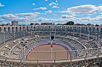 The grandeur of the roman Coliseum in Arles, France.