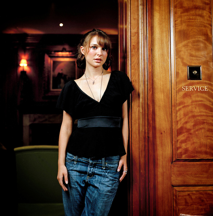 Actress Natalie Portman in London to promote her film 'Garden State'. Photographed in the 'library' at The Covent Garden Hotel.