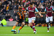 Hull City striker Abel Hernandez (9) and West Ham FC defender Jose Fonte (23) during the Premier League match between Hull City and West Ham United at the KCOM Stadium, Kingston upon Hull, England on 1 April 2017. Photo by Ian Lyall.