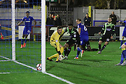 AFC Wimbledon defender Paul Robinson (6) scores a goal 1-0 and celebrates during the The Emirates FA Cup 1st Round Replay match between AFC Wimbledon and Bury at the Cherry Red Records Stadium, Kingston, England on 15 November 2016. Photo by Stuart Butcher.