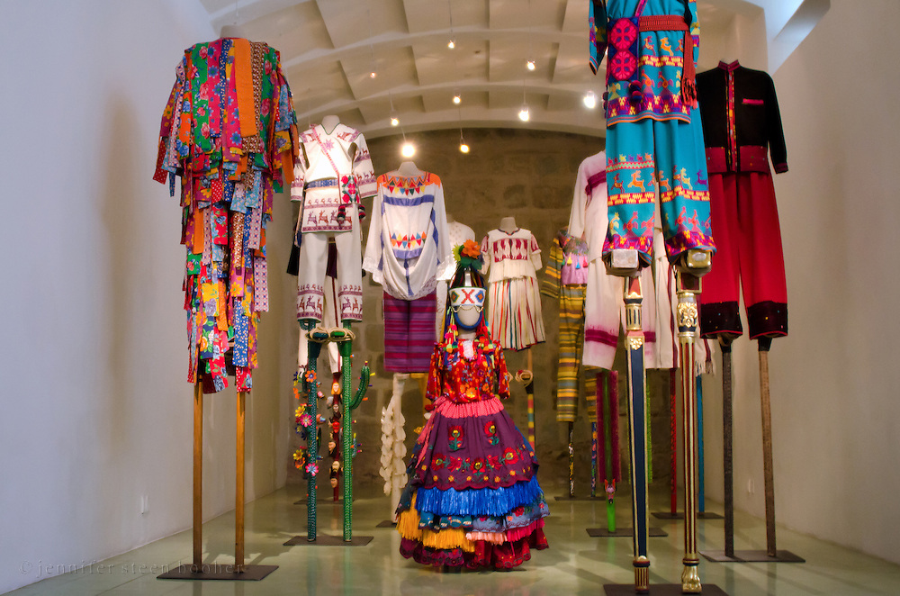 "Stiltwalker costumes from Laura Anderson Barbata's ""Transcomunalidad"" exhibit at the Museo Textil de Oaxaca."