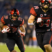 10 November 2018: San Diego State Aztecs running back Juwan Washington (29) rushes the ball for a short gain in the first quarter. The Aztecs lost 27-24 to UNLV Saturday night at SDCCU Stadium falling a game behind Fresno State in the conference standings.