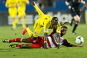 FRISCO, TX - SEPTEMBER 29:  Dominic Oduro #11 of the Columbus Crew is tripped up by Kellyn Acosta #23 of FC Dallas on September 29, 2013 at Toyota Stadium in Frisco, Texas.  (Photo by Cooper Neill/Getty Images) *** Local Caption *** Dominic Oduro; Kellyn Acosta