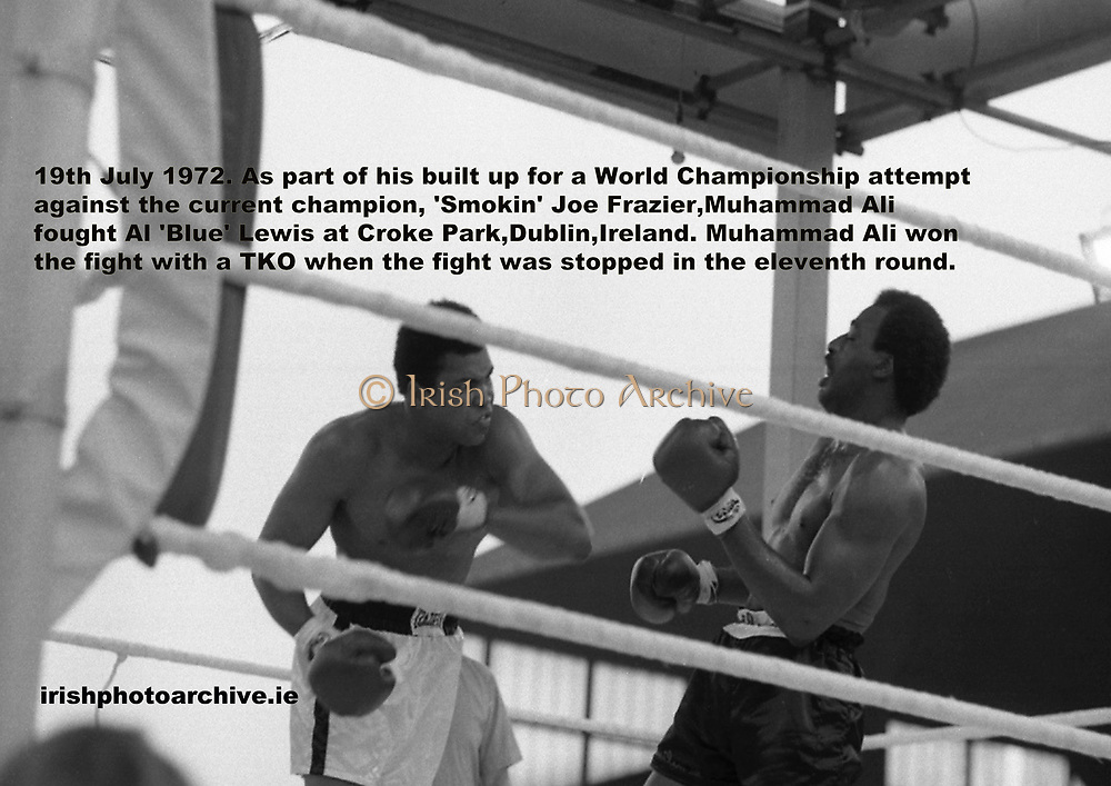 Ali vs Lewis Fight, Croke Park,Dublin. 19th July 1972. As part of his built up for a World Championship attempt against the current champion, 'Smokin' Joe Frazier,Muhammad Ali fought Al 'Blue' Lewis at Croke Park,Dublin,Ireland. Muhammad Ali won the fight with a TKO when the fight was stopped in the eleventh round.<br /> On the sub card Joe Bugner was matched against Paul Neilson.The fight was stopped in the sixth round as Neilson could not defend himself.