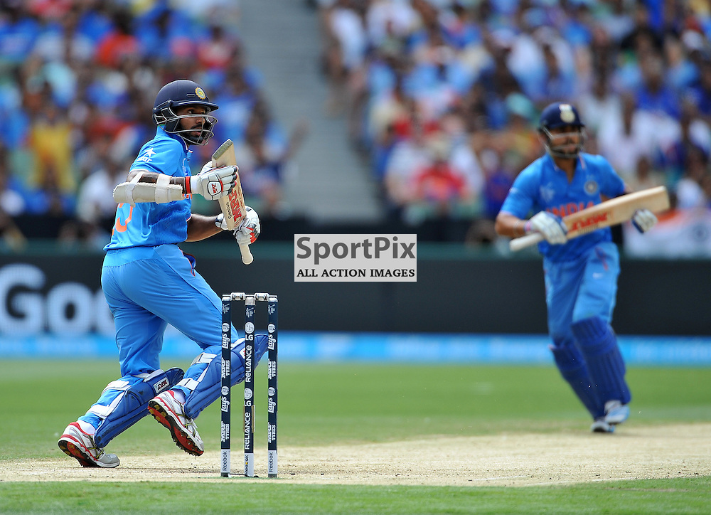 Shikhar Dhawan (Ind).<br /> South Africa V India in the 2015 ICC Cricket World Cup, at the Melbourne Cricket Ground, Melbourne, Victoria, Australia, on the 22nd February 2015.<br /> Wayne Neal | SportPix.org.uk