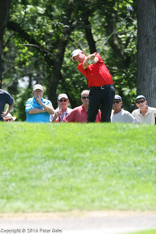 Bart Bryant teeing off on the 15th hole at the 2016 American Family Championship held at University Ridge Golf Course, Madison,  WI. on June 24, 2016.<br /> <br /> <br /> <br /> <br /> <br />  2016 American Family Championship held at University Ridge Golf Course, Madison,  WI. on June 23, 2016.