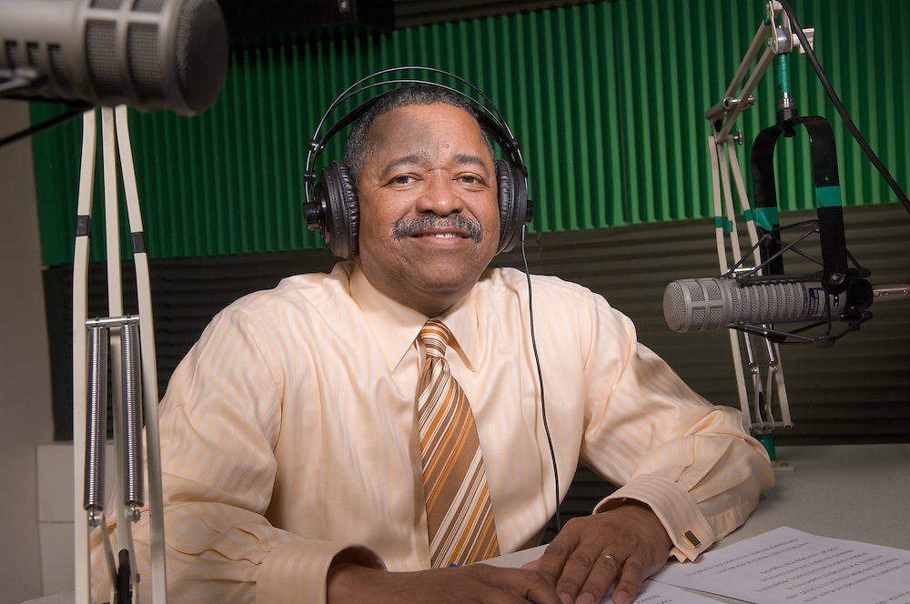 18044Dr. McDavis at WOUB Recording Radio Spots