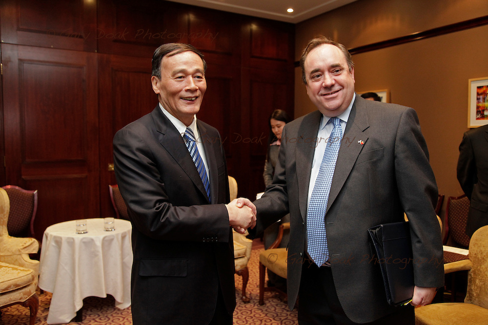Scotland's First Minister Alex Salmond meets and greets China's Vice-Premier Wang ahead of talks..Sheraton Hotel, Edinburgh