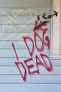 Writing on a home destroyed by Hurriance  Katriana in New Orleans.