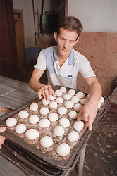 Baker placing bread rolls onto tray in bakery in Havana; Cuba,