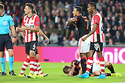 Memphis Depay of Manchester United calls for a stretcher for Luke Shaw of Manchester United during the Champions League Group B match between PSV Eindhoven and Manchester United at Philips Stadion, Eindhoven, Netherlands on 15 September 2015. Photo by Phil Duncan.