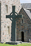 Celtic high cross, St Martin's Cross, at Iona Abbey on Isle of Iona in the Inner Hebrides and Western Isles, West Coast of Scotland