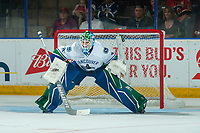 PENTICTON, CANADA - SEPTEMBER 8: Thatcher Demko #35 of Vancouver Canucks defends the net against the Winnipeg Jets on September 8, 2017 at the South Okanagan Event Centre in Penticton, British Columbia, Canada.  (Photo by Marissa Baecker/Shoot the Breeze)  *** Local Caption ***