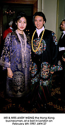 MR & MRS ANDY WONG the Hong Kong businessman, at a ball in London on February 6th 1997.LWH 37
