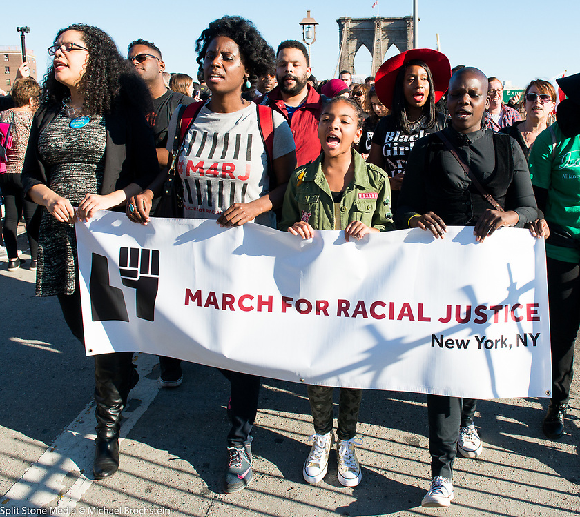 March for Racial Justice in Brooklyn City, NY on October 1, 2017.