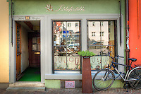 European Old World Storefront with Bicycle parked in front of No Bikes sign in Konstanz, Germany Bodensee region of Europe