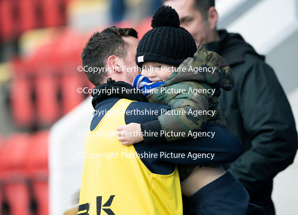 St Johnstone v Celtic…03.02.19…   McDiarmid Park    SPFL<br />Danny Swanson and son<br />Picture by Graeme Hart. <br />Copyright Perthshire Picture Agency<br />Tel: 01738 623350  Mobile: 07990 594431
