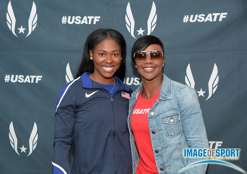 Apr 27, 2018; Philadelphia, PA, USA; Aaliyah Brown (left) poses with Carmelita Jeter at USA vs. The World press conference during the 124th Penn Relays at Franklin Field.
