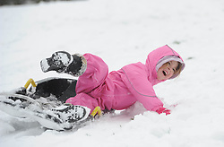 Lucy Patten  (5) on a sledge  in Cambridge as unseasonal snowfall blankets the country, UK, March 24 2013.  Photo by Matthew Power / i-Images...