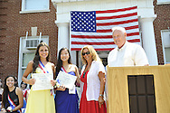 Miss Wantagh Pageant ceremony, a long-time Independence Day tradition on Long Island, is Wednesday, July 4, 2012, at Wantagh School, New York, USA. The Miss Eloquent Winners were Hailey Orgass, Miss Wantagh 2012, and Belinda Lia (center in blue gown).Since 1956, the Miss Wantagh Pageant, which is not a beauty pageant, has crowned a high school student based mainly on academic excellence and community service.