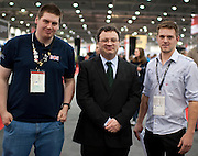 From Left to Right - Northern Ireland competitor for 2011 David Nicholl, Minister Dr Stephen Furry(M) and Trever Woods Bronze winner for Northern Ireland 2009..Dr. Stephen Farry Employment and Learning Minister for Northern Ireland at  the ExCel Centre  in London on October 8th 2011.