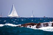 Freya sailing in the 2010 Antigua Classic Yacht Regatta, Windward Race, day 4.