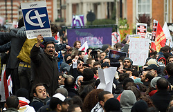 © under license to London News Pictures. 29/01/2011. Student Demonstrators march alongside Egypt protestors outside the Egyptian Embassy in London today (29/01/2011) following violent outbreaks at some of Egypts major cities. Photo credit should read: London News Pictures