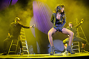 Kelly Rowland performing in support of Chris Brown on the FAME Tour 2011 at the Verizon Wireless Amphitheater on September 24, 2011.