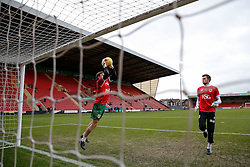 Bristol City goalkeepers Frank Fielding and Dave Richards in action  during the warm up - Photo mandatory by-line: Rogan Thomson/JMP - 07966 386802 - 20/12/2014 - SPORT - FOOTBALL - Crewe, England - Alexandra Stadium - Crewe Alexandra v Bristol City - Sky Bet League 1.