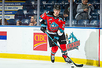 KELOWNA, BC - OCTOBER 12: Nolan Foote #29 of the Kelowna Rockets warms up with the puck on the ice against the Kamloops Blazers  at Prospera Place on October 12, 2019 in Kelowna, Canada. Foote was selected by the Tampa Bay LIghtning in the 2019 NHL entry draft. (Photo by Marissa Baecker/Shoot the Breeze)
