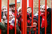 Forest supporters looking to get a glimpse of Nottingham Forest manager Martin O'Neill during the EFL Sky Bet Championship match between Nottingham Forest and Bristol City at the City Ground, Nottingham, England on 19 January 2019.