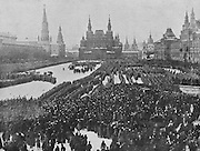 Patriotic demonstration and parade of troops during the Russian Revolution, in Red Square, Moscow, photograph published in L'Illustration no.3875, 9th June 1917. Picture by Manuel Cohen