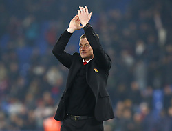 February 27, 2019 - London, England, United Kingdom - Manchester United manager Ole Gunnar Solskjaer  slute the fans.during English Premier League between Crystal Palace and Manchester  United at Selhurst Park stadium , London, England on 27 Feb 2019. (Credit Image: © Action Foto Sport/NurPhoto via ZUMA Press)