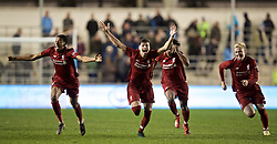 MANCHESTER, ENGLAND - Thursday, April 25, 2019: Liverpool's Neco Williams celebrates with team-mates after the FA Youth Cup Final match between Manchester City FC and Liverpool FC at the Academy Stadium. Liverpool won 5-4 on penalties after a 1-1 extra-time draw. (Pic by David Rawcliffe/Propaganda)