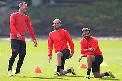 Wayne Rooney of Manchester United shares a joke with Daley Blind and Juan Mata - Mandatory by-line: Matt McNulty/JMP - 14/09/2016 - FOOTBALL - Manchester United - Training session ahead of Europa League Group A match against Feyenoord