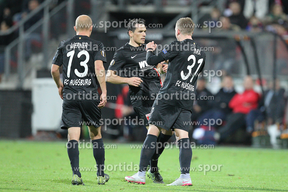 22.10.2015, WWK Arena, Augsburg, GER, UEFA EL, FC Augsburg vs AZ Alkmaar, Gruppe L, im Bild l-r: Torjubel von Tobias Werner #13 (FC Augsburg) und Piotr Trochowski #15 (FC Augsburg), Philipp Max #31 (FC Augsburg) zum 1:0 // during UEFA Europa League group L match between FC Augsburg and AZ Alkmaar at the WWK Arena in Augsburg, Germany on 2015/10/22. EXPA Pictures &copy; 2015, PhotoCredit: EXPA/ Eibner-Pressefoto/ Kolbert<br /> <br /> *****ATTENTION - OUT of GER*****